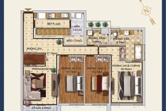 Bán căn góc 3 phòng ngủ chung cư BRG Grand Plaza 16 Láng Hạ
